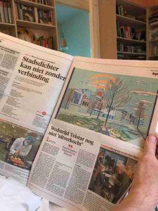 Stadsgedicht en illustratie in de krant